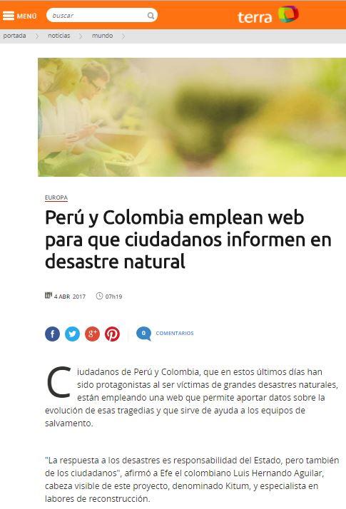 (Español) Perú y Colombia emplean web para que ciudadanos informen en desastre natural (Agencia EFE)